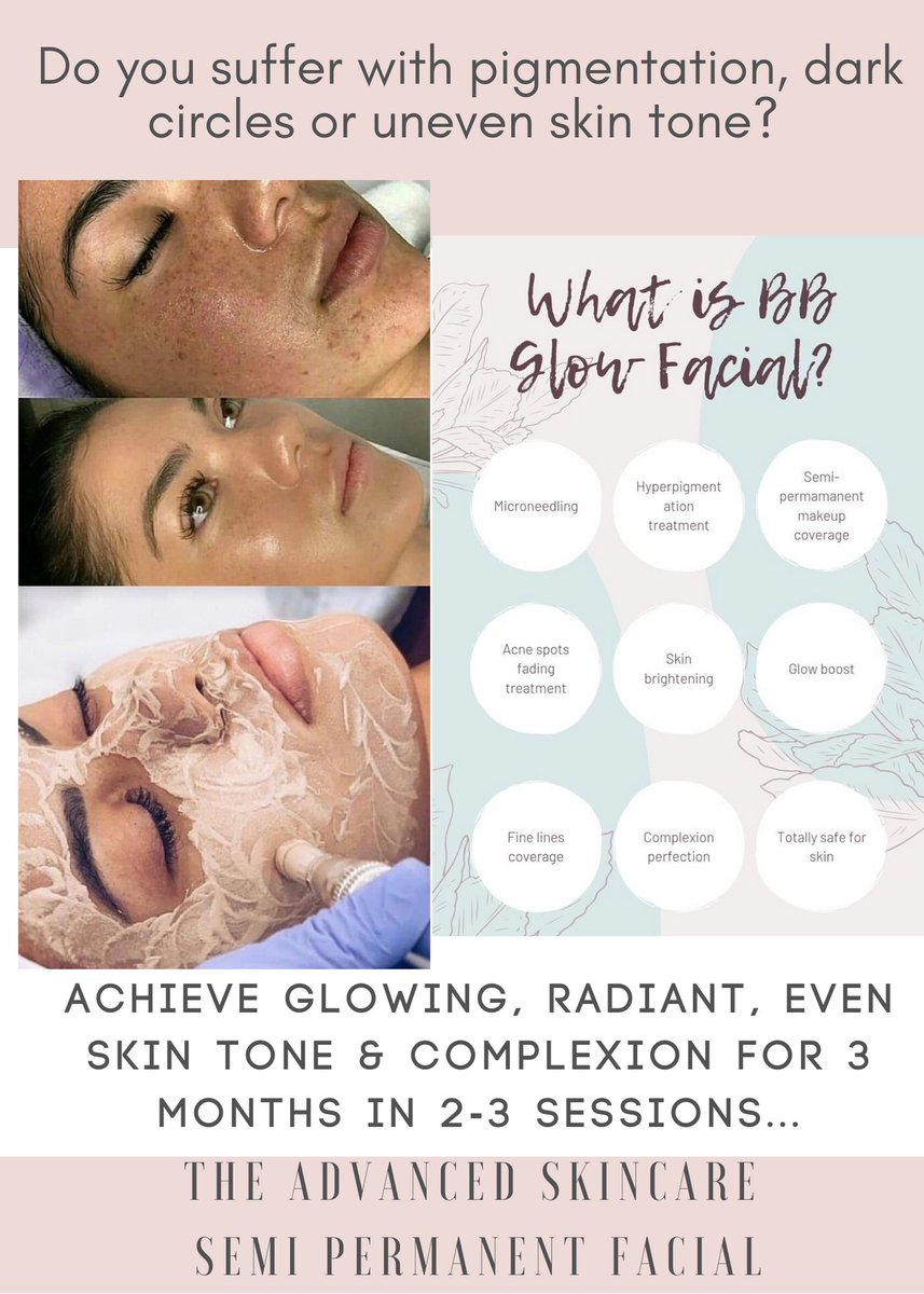 The bb glow facial is here!!!  Get even skin tone, hide blemishes, camouflage dark circles and much more!!!   Semi permanent Foundation that can last 3 months  #bbglow #lessmakeup #coverage #notjustforthegirlspic.twitter.com/ts8k9bkVPI
