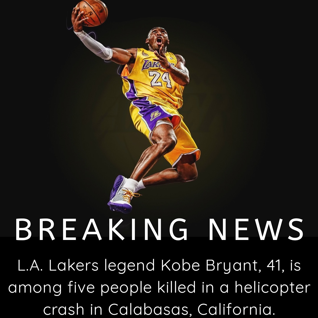 NBA and Laker legend Kobe Bryant, 41, is among five people killed in a helicopter crash in Calabasas, California, per @tmz_tv sad day for all in the basketball world. . . . #lakers #lakersnation #losangeleslakers #purpleandgold #nba #nbabasketball #basketball #basketballislife pic.twitter.com/TkjDQrACEl