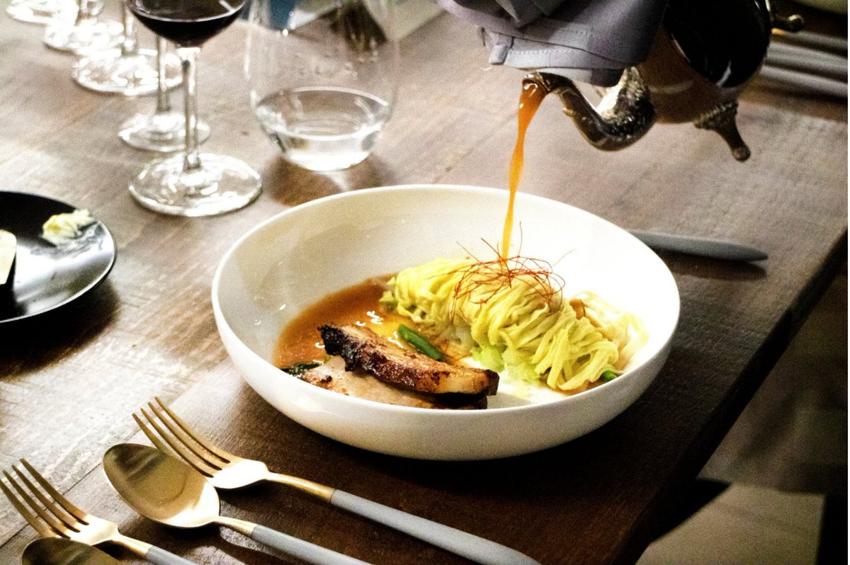 Turning up the temperature with this Spicy Pork Served in a Big Bone Broth with Homemade Egg Noodles and Haricot Très Fins. To book your next event with us call us on 416 533 8800 today!⠀#envillecatering #tastetoronto #foodart #torontocatering #torontofood #cateringtoronto