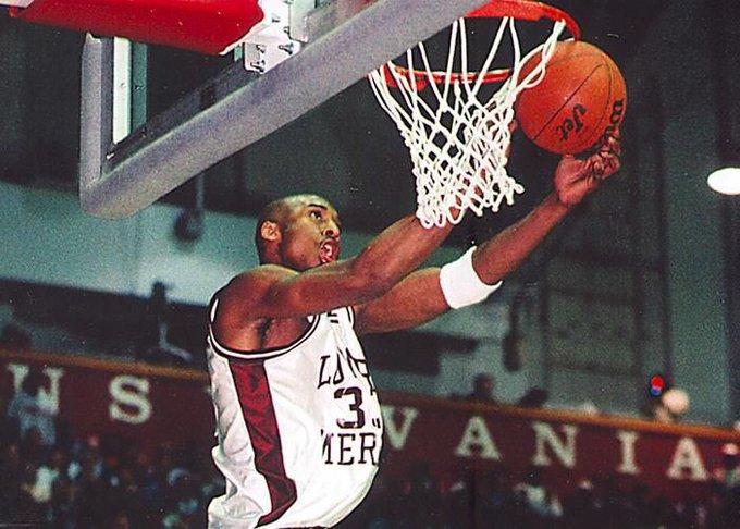 Kobe Bryant plays basketball at Lower Merion High School.