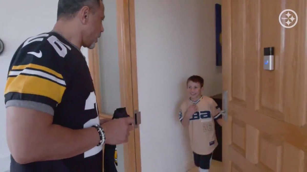 Caden Cadaval is the #Steelers winner of the @NFL Next 100 Super Bowl Contest and @RodWoodson26 surprised him at his home with a trip to the Super Bowl for him and his parents! #NFL100   #HereWeGo