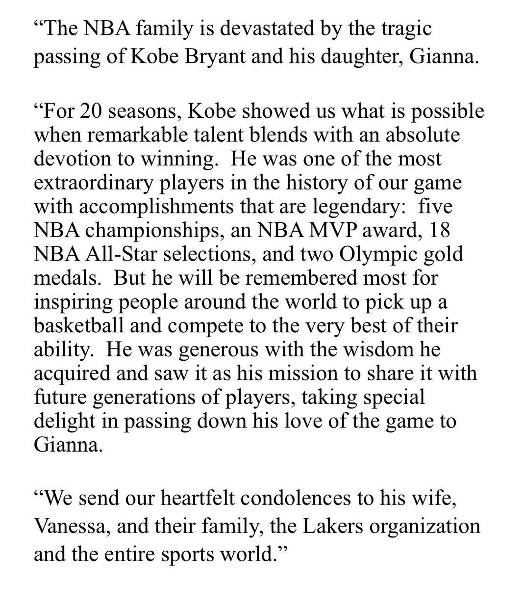 NBA commissioner Adam Silver statement on sudden death of Kobe Bryant.