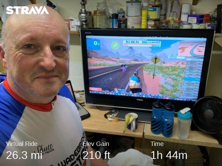 1/3 #CyclingDownDementia #39 - Zwift Marathon Around Desert Flats of Watopia (T-885). Finishing my marathon weekend with a marathon ride. Not going to say it's been an easy weekend but everyone's support has been amazing and thanks to you all... pic.twitter.com/dyUWjuJWf3