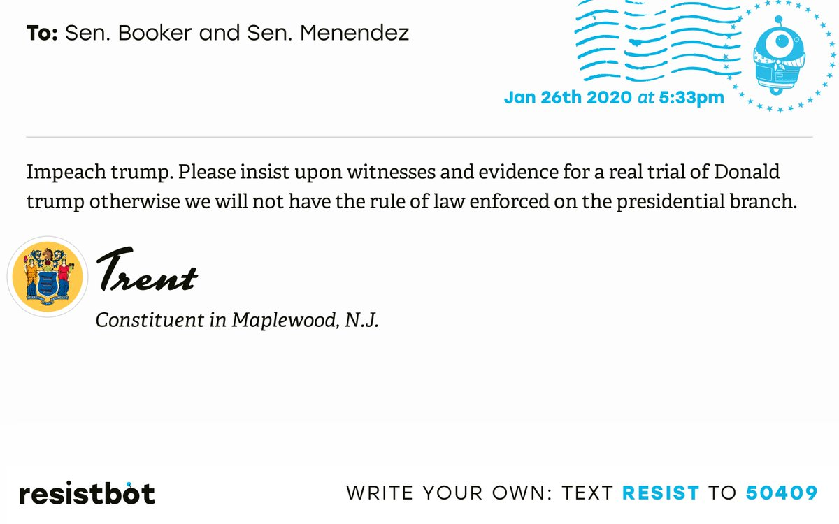 I just delivered this letter from Trent in Maplewood, N.J. to @SenBooker and @SenatorMenendez #NJ10 #NJpolitics #ImpeachmentInquiry