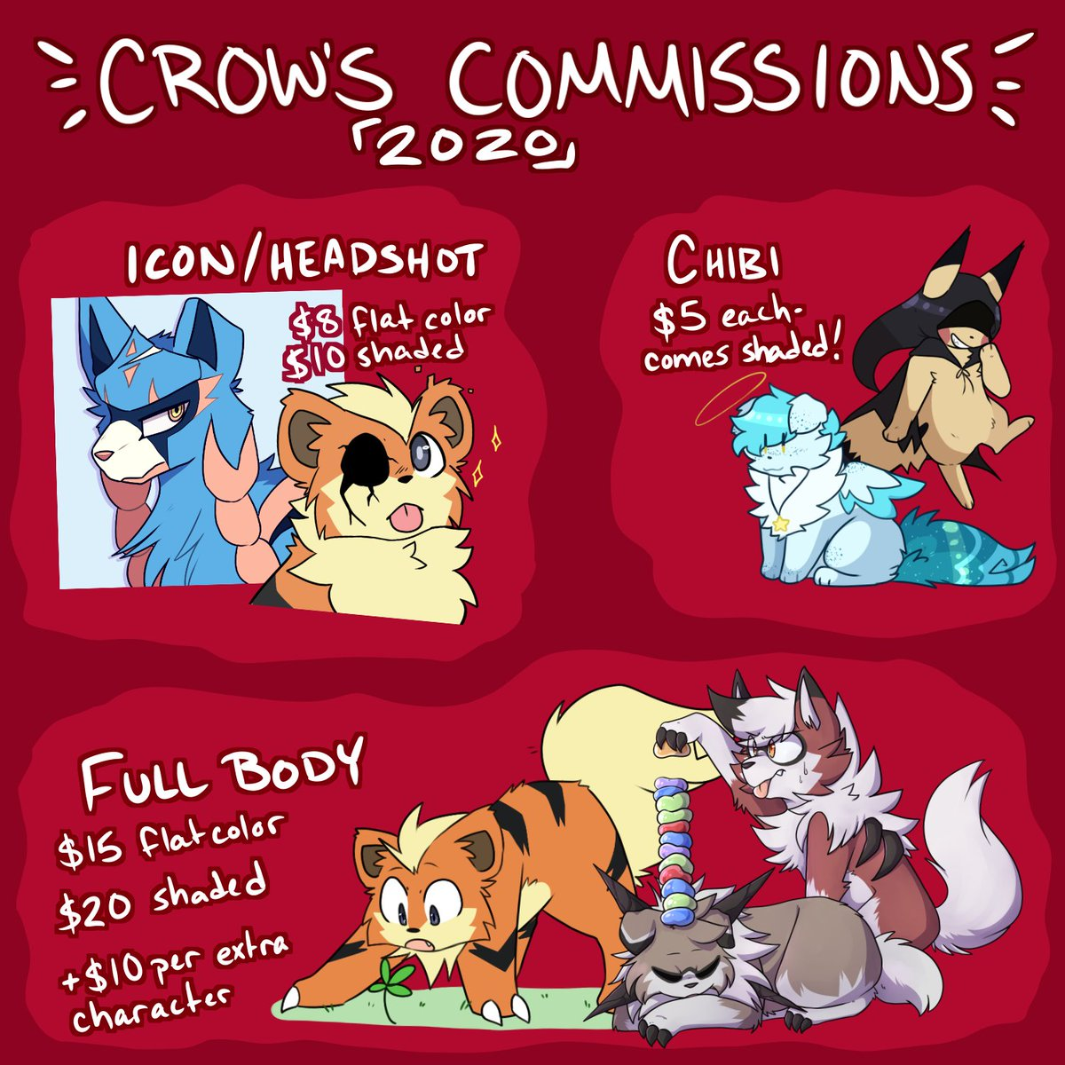 COMMISSIONS SHEET 2020!! paypal much preferred, may take dA points!! best contact dA @ mcdoggo via notes or discord if you have me! furries/pokemon only <br>http://pic.twitter.com/lLOUuiLKC2