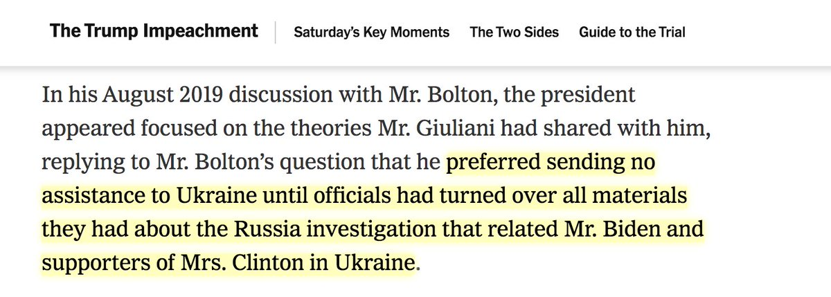 Also, read even more closely, note the word preferred here. That Trump preferred that Ukraine do something is far different than saying, as Dems allege, that Trump *conditioned* it. I dont think Bolton is helping Dems here (what a shocker, I know).