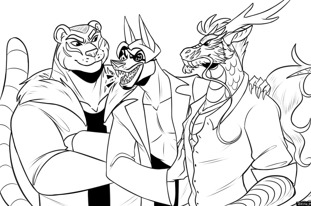 stayed up WAY too late working on this, oops!! gonna hopefully finish it tomorrow. :') im very passionate about majima and his two large boyfriends as furries <br>http://pic.twitter.com/07RPTo2Ksg