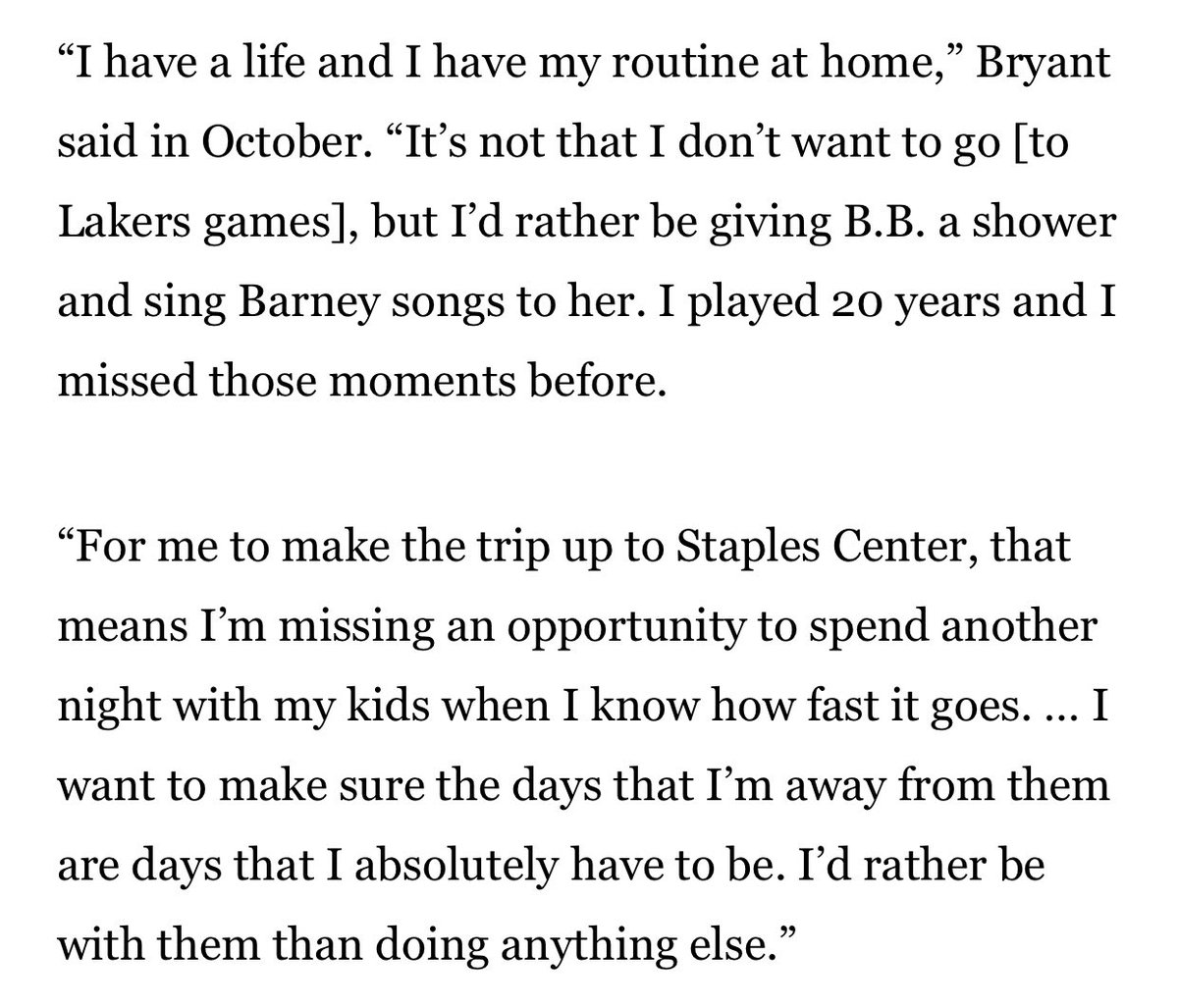 When I asked Kobe before this season why he didn't go to more Lakers games, he smiled. He wanted to spend more time with his daughters than commuting to Staples Center. <br>http://pic.twitter.com/4DaJmVkYD9