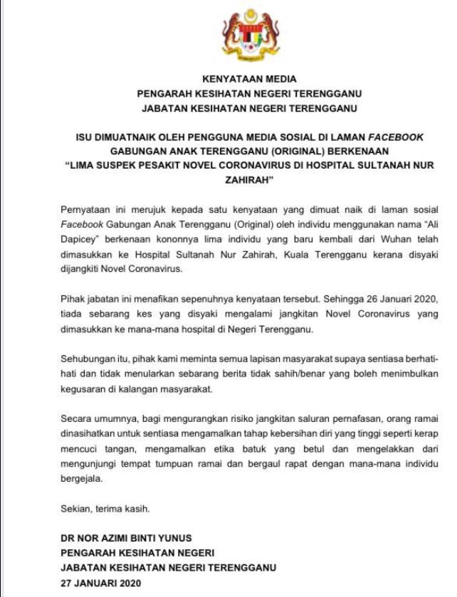 Majlis Keselamatan Negara Jabatan Perdana Menteri On Twitter Jabatan Kesihatan Negeri Terengganu Nafi Dakwaan Lima Individu Dimasukkan Ke Hospital Sultanah Nur Zahirah Kerana Coronavirus Koronavirus Jpmgov Https T Co Luwccygazb