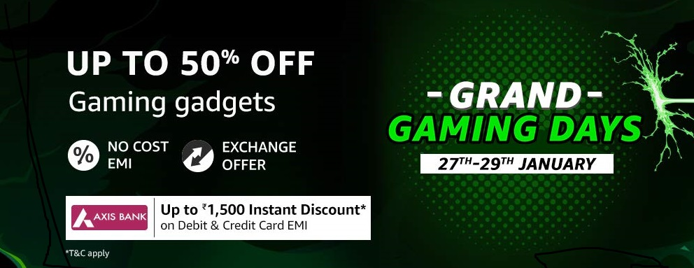 #gaming #games #gadget #offer Grand Gaming days Upto 50% off on Gadgets  https://bit.ly/37yRorK pic.twitter.com/Q4Up3LHHq0