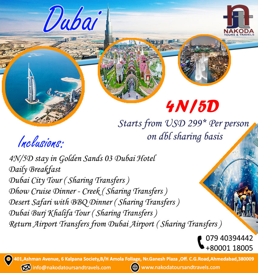 #DubaiCityPackage #Dubai #DubaiTourTravel #DubaiTourPackage 4 #Night /5 #Day Starts from #USD 299* #Perperson on dbl sharing basis Contact us for more details Mob - 079 40394442,80001 18005 Email – nakoda_thetravelfielder@yahoo.com Website -