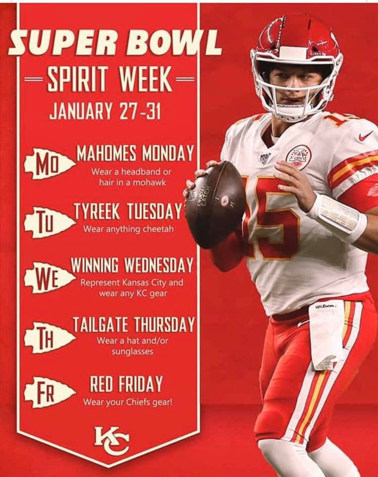 Don't forget the Super Bowl spirit this week! Have fun! And Go Chiefs! #lesachieve<br>http://pic.twitter.com/w73TjZafNA