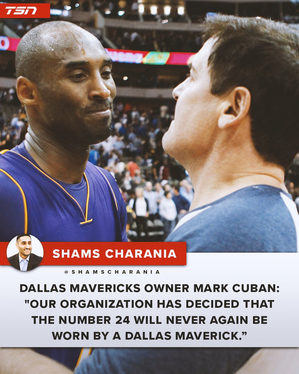 Mark Cuban and the Dallas Mavericks are retiring No. 24 in honour of Kobe Bryant. <br>http://pic.twitter.com/xJyqEmHW6o