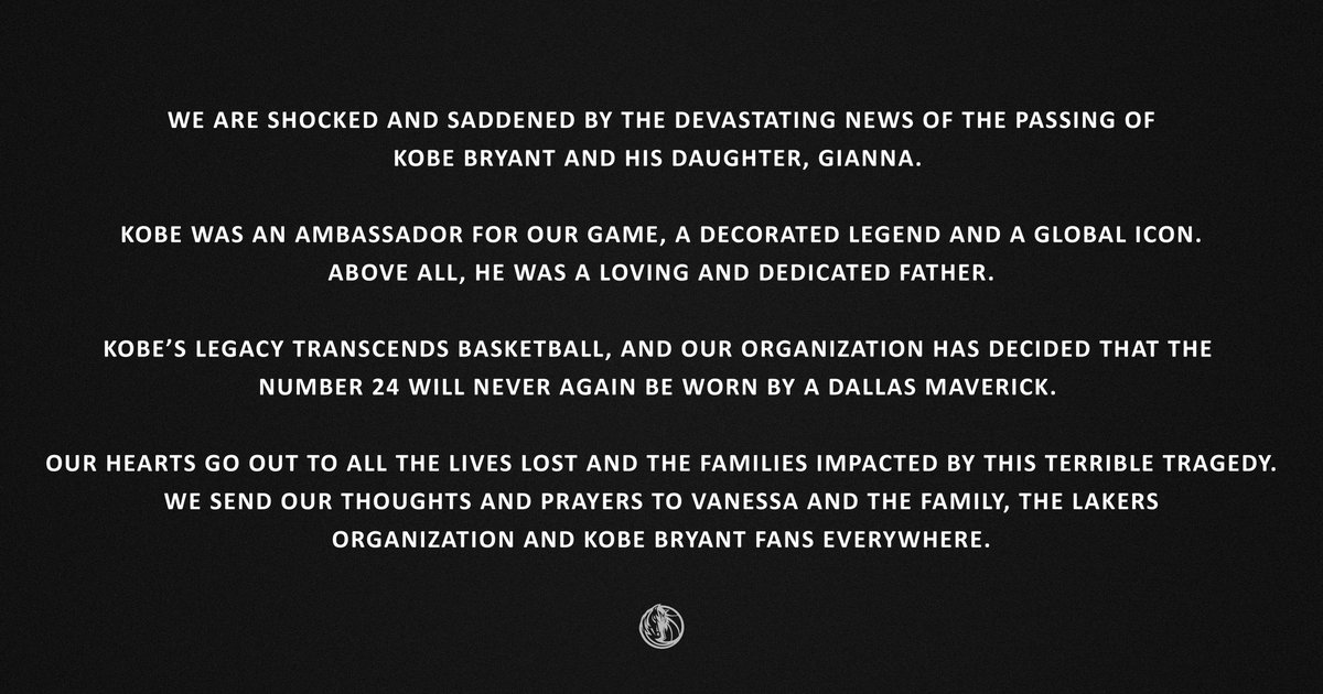 Dallas Mavericks Owner Mark Cuban issued the following statement on the passing of Kobe and Gianna Bryant. <br>http://pic.twitter.com/Ua41YrvTMZ