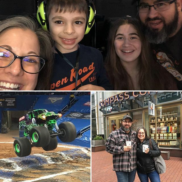 We had an all too rare day out of family fun at Monster Jam in DC this weekend! #familytime #mosterjam #familyfun #alwayscoffee #weirdandwomderful #mostertrucks