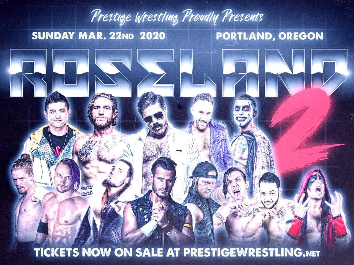 BREAKING NEWS  All tickets purchased for #PrestigeRoseland2 from now until Monday, February 3rd will be granted access to a Google Drive with EVERY PRESTIGE WRESTLING SHOW IN FULL!   Send proof of purchase to: william@prestigewrestling.net  Tickets: