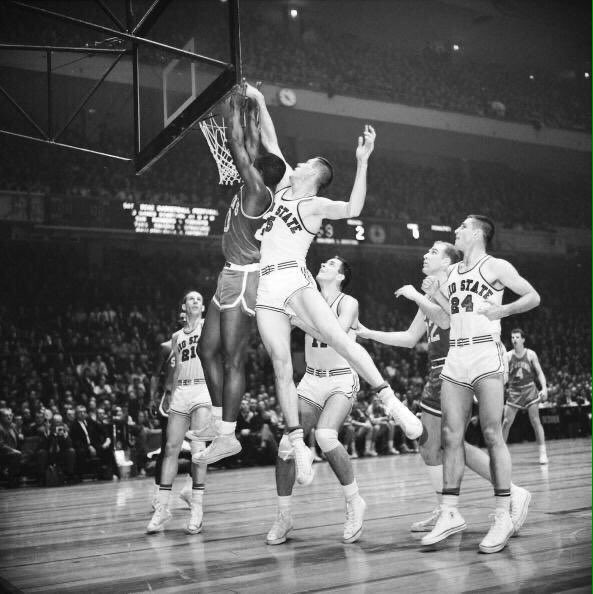 """Old Days""Ohio States John Havlicek goes up for Rebound as Larry Siegfried,Jerry Lucas and Bob Knight look on vs St Johns in a 1960 ""Holiday Festival""game at the""Old""Madison Square Garden.#OhioState #Ohio #MSG #1960s #nyc #Celtics  #Buckeyes"