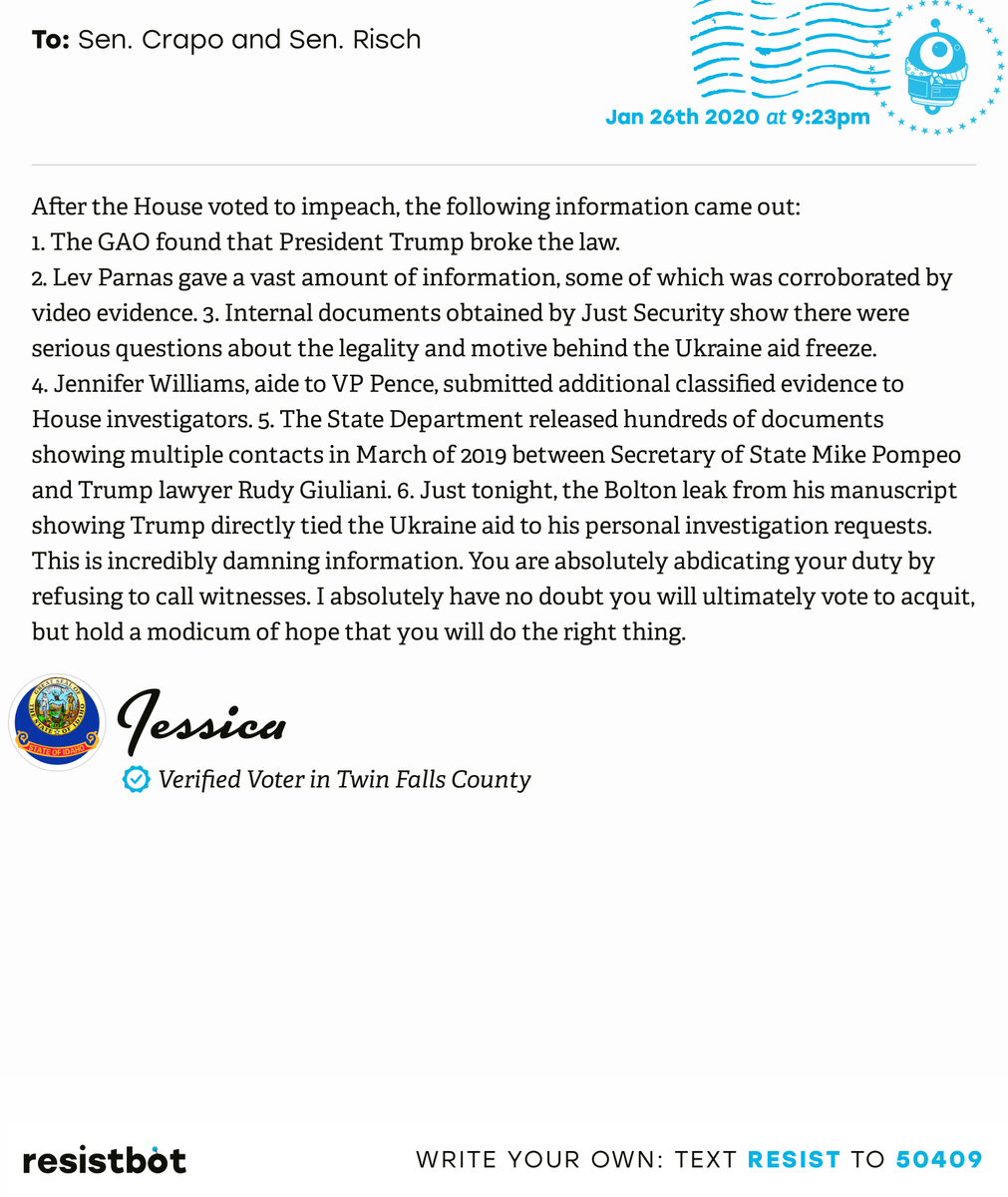 I just delivered this letter from Jessica in Filer, Idaho to @MikeCrapo and @SenatorRisch #ID02 #IDpol #ImpeachmentInquiry