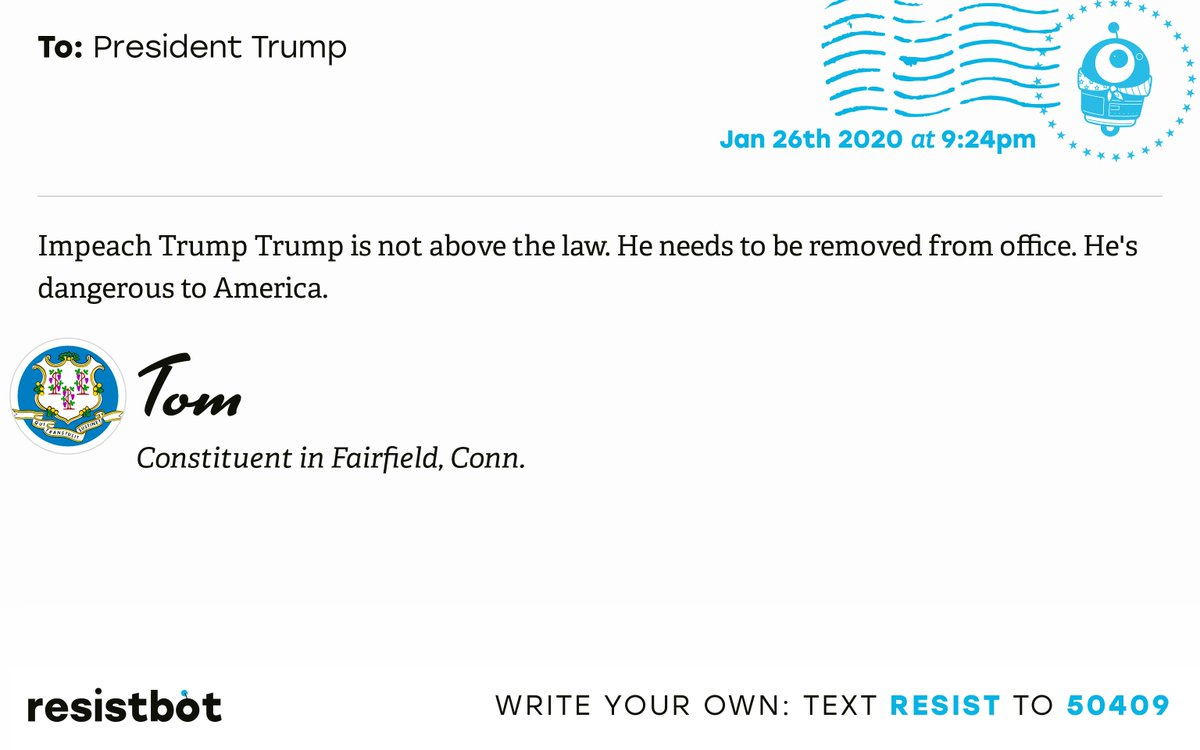 I just delivered this letter from Tom in Fairfield, Conn. to @realDonaldTrump #CT04 #CTpolitics #ImpeachmentInquiry