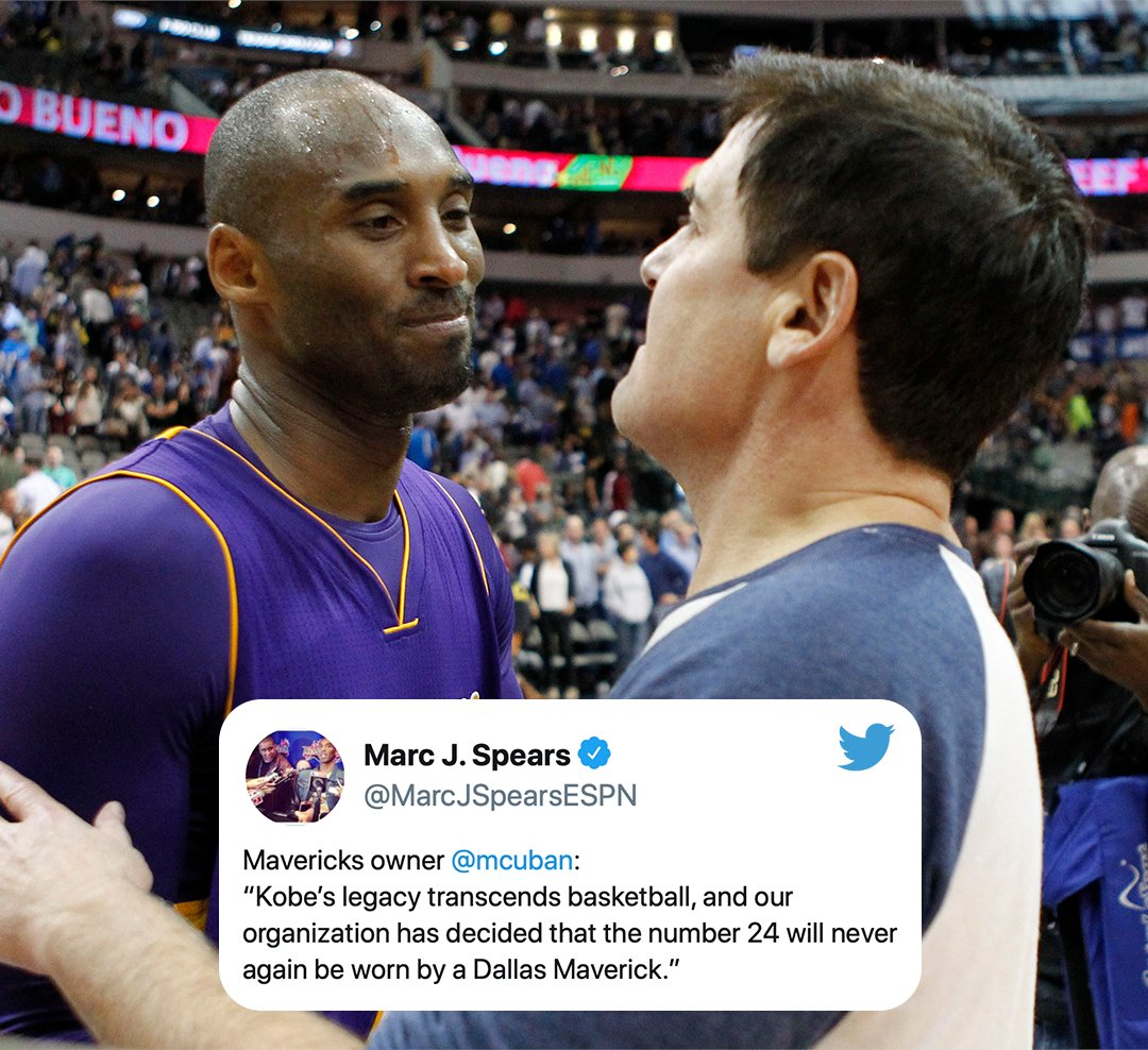 """Mark Cuban says Kobe Bryant's iconic No. 24 """"will never be worn again"""" by the Mavericks. <br>http://pic.twitter.com/c4SAWx2EL3"""