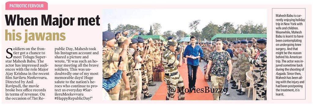 When Major Met His Jawans  @urstrulyMahesh @AnilRavipudi @AnilSunkara1 @vijayashanthi_m @ThisIsDSP @SVC_official @AKentsOfficial  #SariLeruMeekevvaru <br>http://pic.twitter.com/0JZE8eGvFj