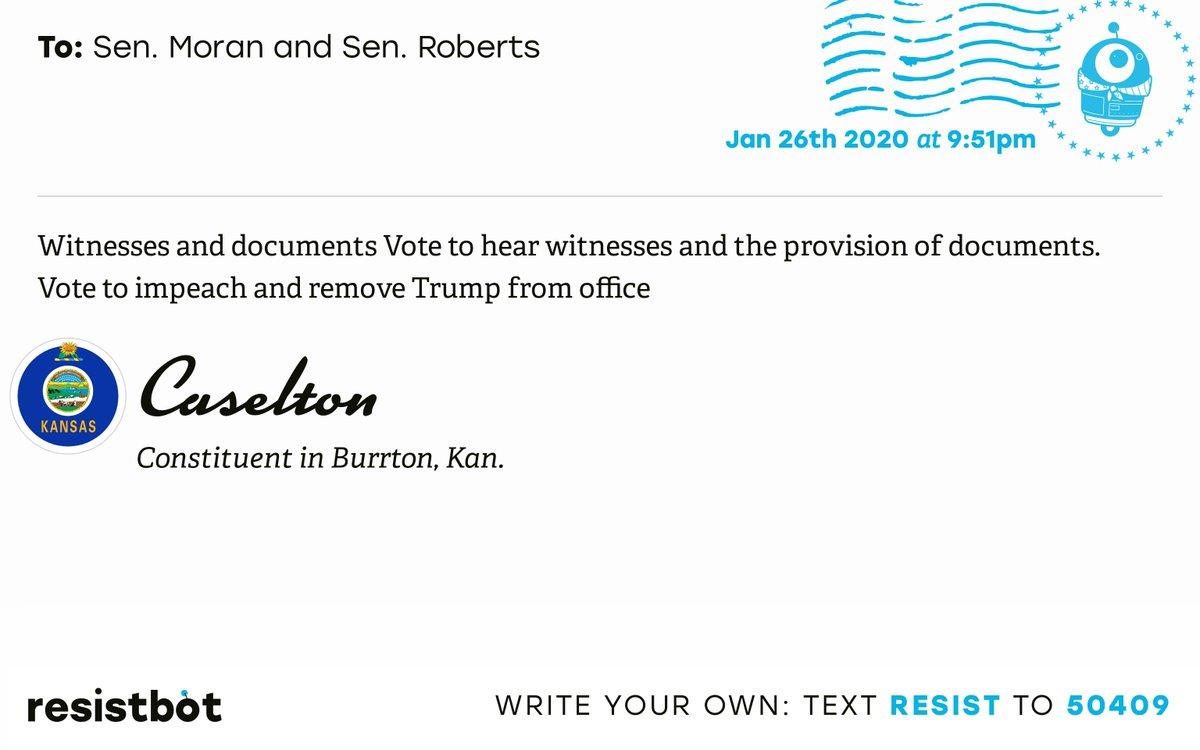 I just delivered this letter from Caselton in Burrton, Kan. to @JerryMoran and @SenPatRoberts #KS04 #KSpolitics #KSpol #KSpoli #ImpeachmentInquiry