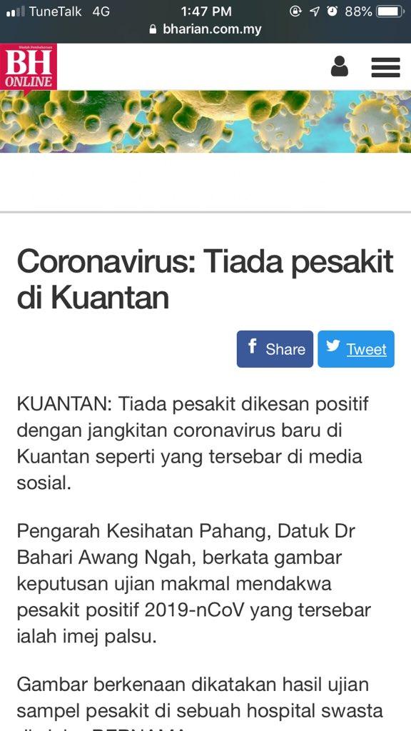 corona virus in kuantan