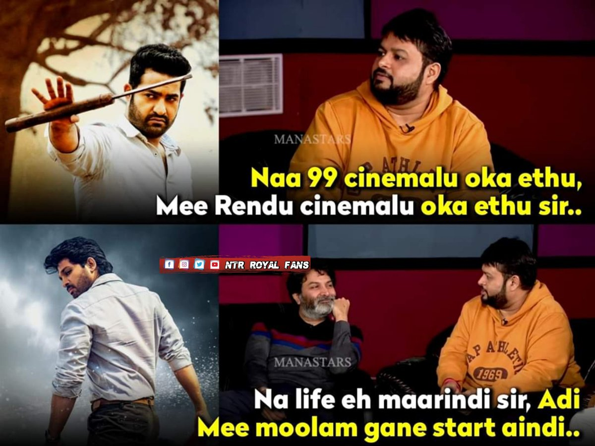 @MusicThaman Sir in Recent Interview about #AravindhaSametha  #AlaVaikunthaPurramuloo.  #YoungTigerNTR @tarak9999 #StylishStarAlluArjun @alluarjunpic.twitter.com/6OYTJ5KNs8