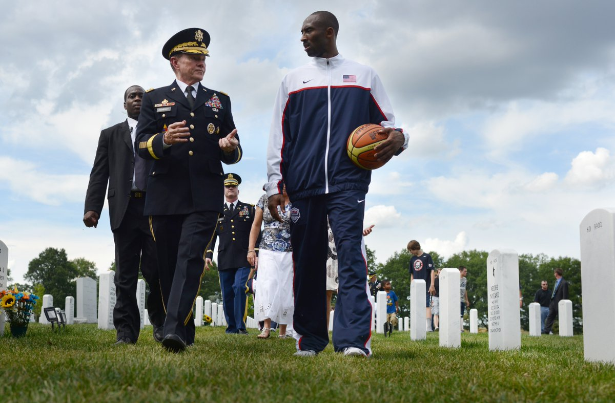Mamba out. Fair winds and following seas, Mr. Bryant. Then-Chairman of the Joint Chiefs of Staff, Army Gen. Martin E. Dempsey, and Kobe Bryant talk at Arlington National Cemetery, July 15, 2012. (D. Myles Cullen/Department of Defense)