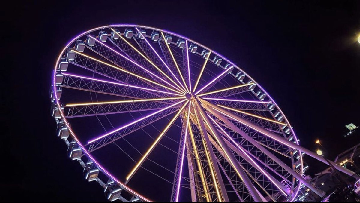 The @stlouiswheel lit up purple and gold tonight.