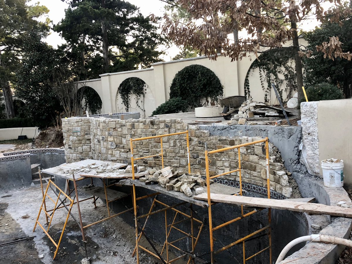 Another Nichols Hills pool remodel in progress - handmade tile and hand-cut stonework.  It's all in the details!  . . #caviness #nicholshills #luxuryrealestate #homeimprovement #poolremodel #swimmingpools #outdoorliving pic.twitter.com/Z5yyr6nPGY