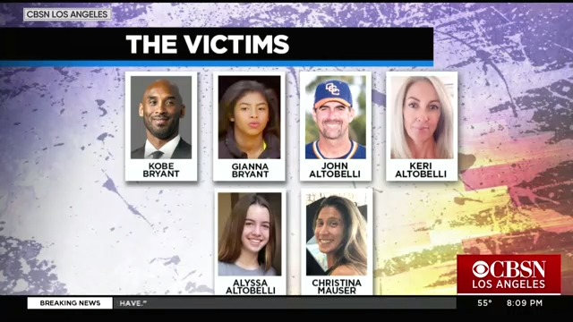Kobe Bryant's 13-year-old daughter is among the nine killed in Sunday's helicopter crash. Orange Coast College head baseball coach John Altobelli, along with his wife and daughter, were also killed.  https:// cbsn.ws/2RqYngJ    <br>http://pic.twitter.com/q9lyoExYhq