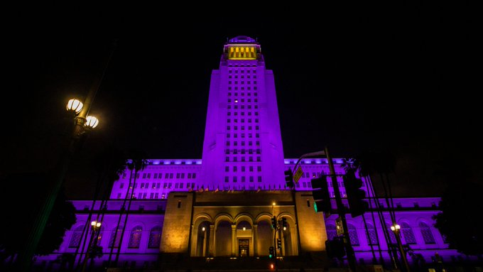 City Hall lit purple and gold for Kobe Bryant