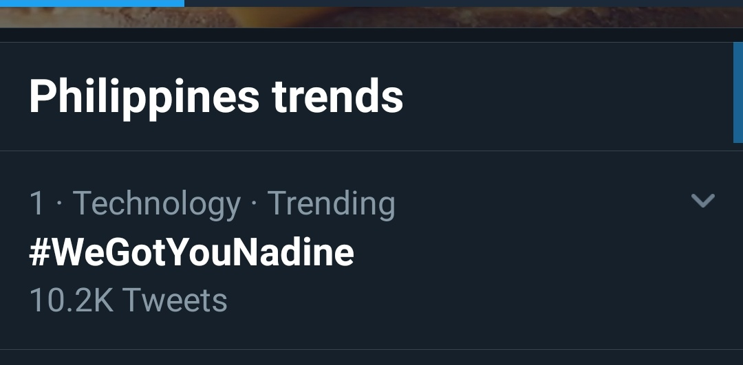 #WeGotYouNadine  is trending and on top spot.<br>http://pic.twitter.com/gGdSiHdajf
