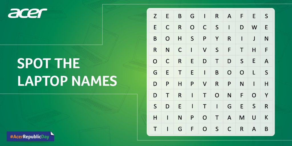 Mega Contest Alert!! There are 6 Acer laptop names hidden in this puzzle. Find them all and post in the comments with #AcerRepublicDay. One lucky winner stands a chance to win high-end gaming headphones worth Rs. 12,000.  Avail Republic Day offers here: https://acer.co/2t0pxBP