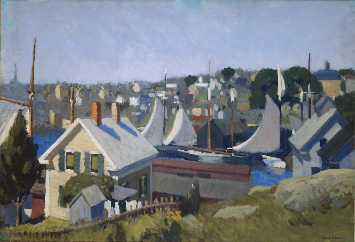 """Gloucester Harbor"". Edward Hopper. 1912. Posted by 78 Derngate on Facebook  #Iloveart #ArtYArt #Artlovers<br>http://pic.twitter.com/M4ulmxpzdR"