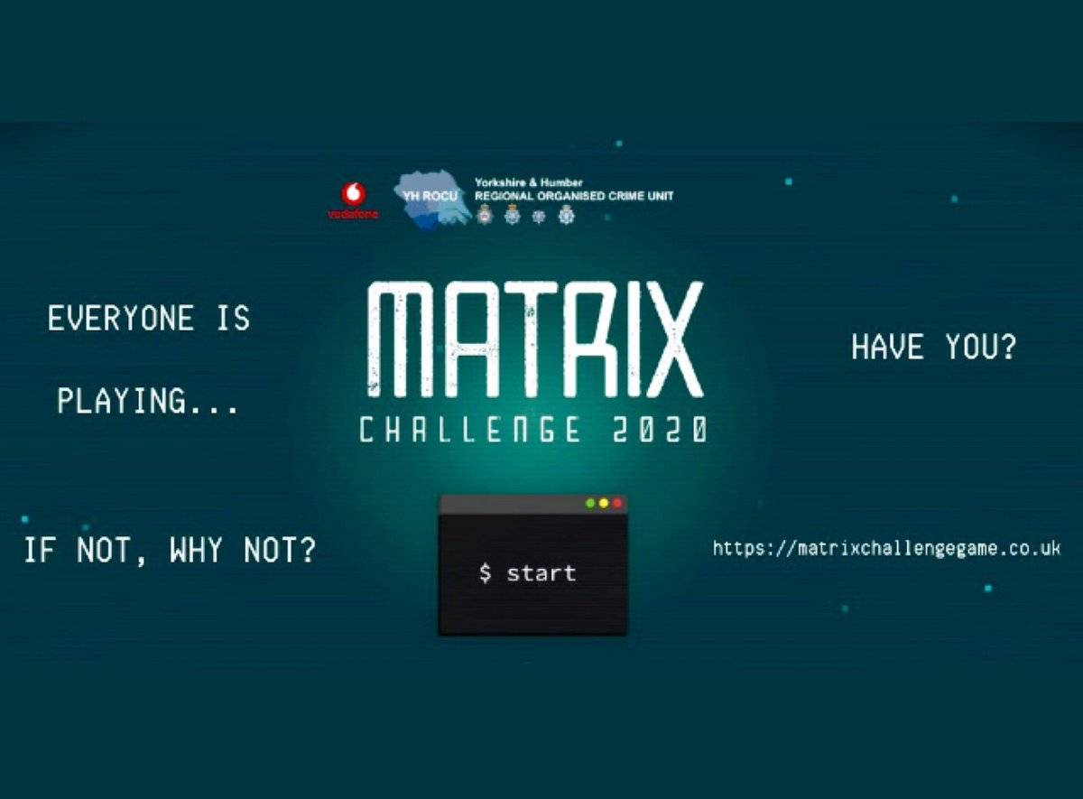 #MatrixChallenge2020 !  Do you know someone 11-17 who wants to put their cyber skills to the test?  Head to  for more info - signup is open until 14 Feb!