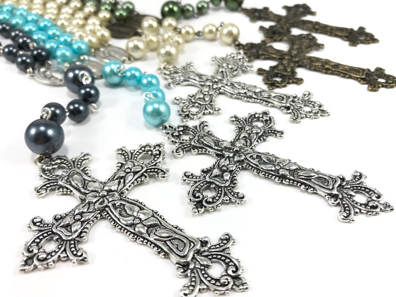 Large glass #pearl #rosary beads, #handmadewithlove and ready to ship! Available in multiple colors! #praytherosary #etsy #faith #prayer