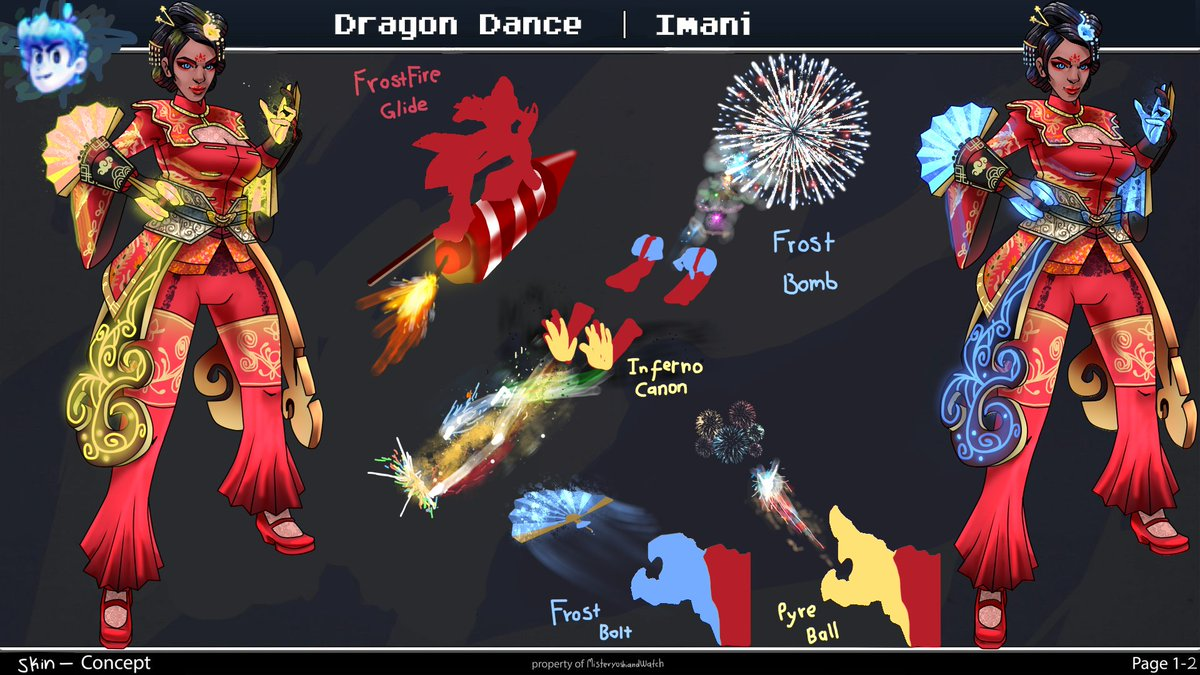 In the the rainbow mist of the fireworks, the last guardian is performing the dragon dance, preventing the entrance to evil in this new year, and inviting luck and good fortune to everyone on the realm.  Dragon Dance Imani Skin Concept #Paladinsart #Paladins <br>http://pic.twitter.com/1G6o5Gor3s
