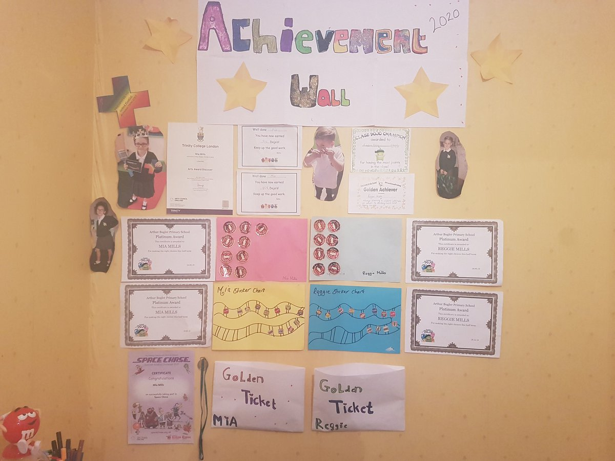 Encouraging your children that achieving to the best of there ability certainly makes a postive impact, lots of fun with paints and glitter when the kids wanted to make there own achievement wall at home #2020 #bestschoolever #arthurbugler @ArthurBugler @johnbryantHT<br>http://pic.twitter.com/TUIpr2wiPp