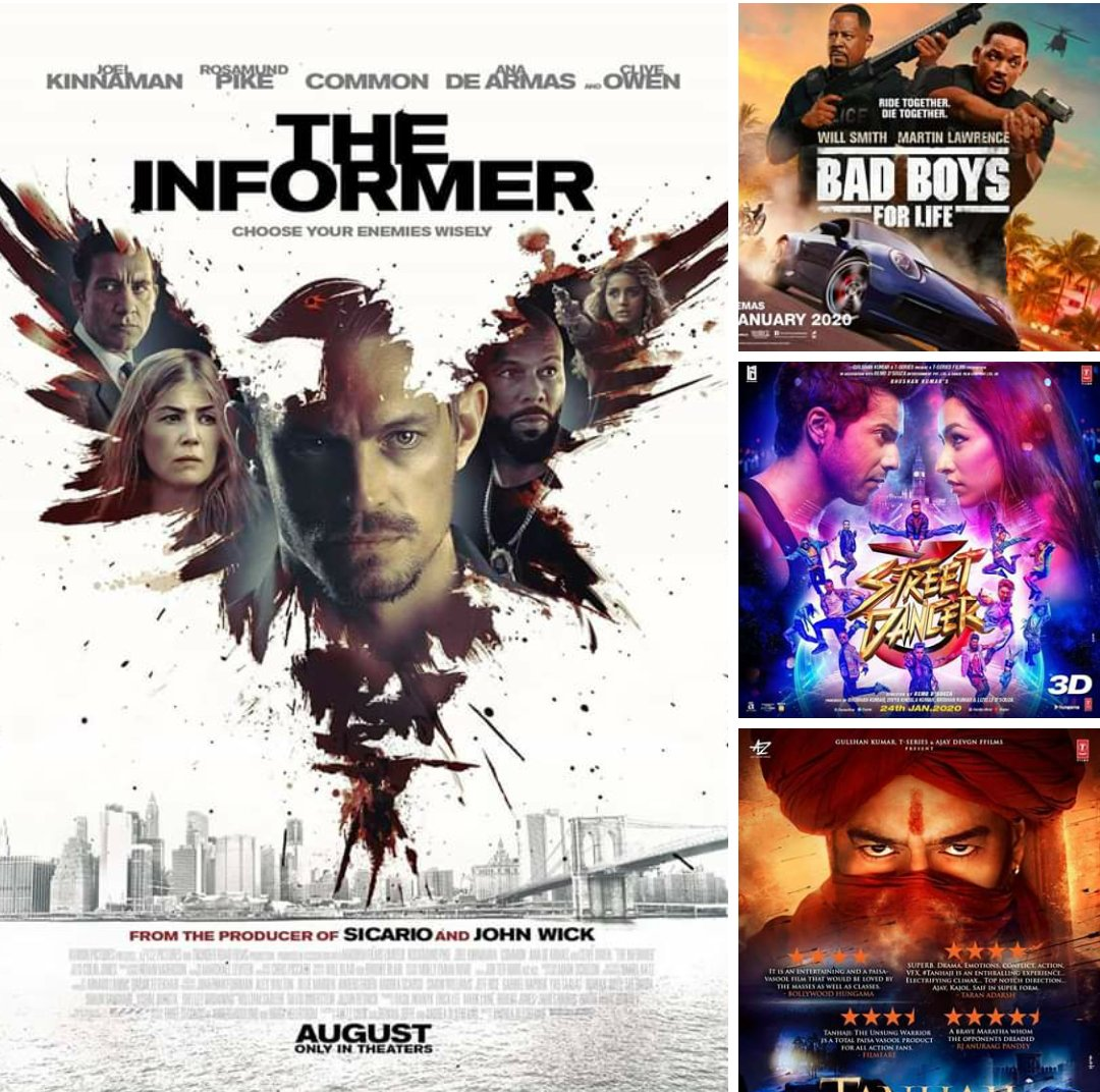 Movie line up at #HamCinemax from January 27th January 2020  12:30pm Tanhaji The Unsung Warrior 3D  03:00pm BadBoys 3 (R) 05:00pm Street Dancer 3 (R) 07:30pm BadBoys 3 (R) 10:00pm The Informer (R)  Weekly Ticket prices  Mondays: UGX 10,000 Both   RSVP 0392080424 / 0757327283 pic.twitter.com/Q7ktnK6blO