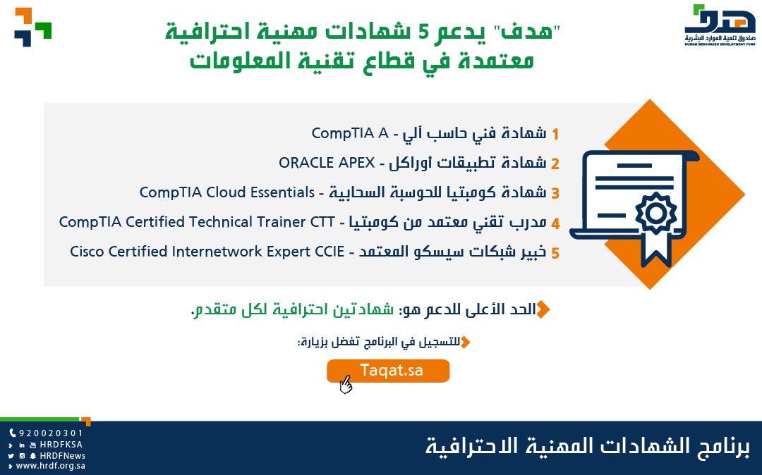 هدف On Twitter هدف يدعم 5 شهادات مهنية احترافية معتمدة في قطاع تقنية المعلومات Https T Co Esem0ekaui