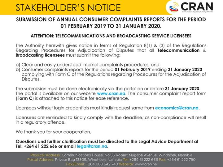 test Twitter Media - Good morning!  REMINDER: STAKEHOLDER'S NOTICE ON SUBMISSION OF ANNUAL CONSUMER COMPLAINTS REPORTS FOR THE PERIOD 01 FEBRUARY 2019 - 31 JANUARY 2020  DUE DATE: FRIDAY, 31 JANUARY 2020  #CRAN #ICT #Regulator #StakeholderNotice 📡🇳🇦 https://t.co/xss1T534xU