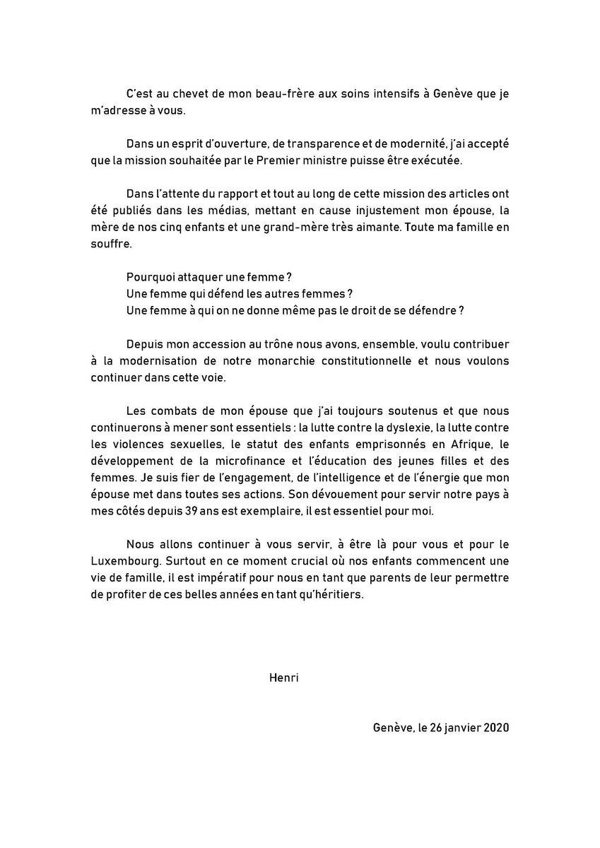 Официальное заявление великого герцога Анри