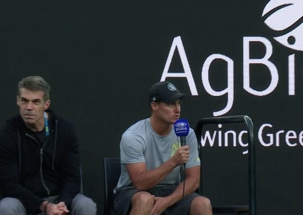 Hey Lleyton, turn to your right and ask @cbfowler what he thinks about Joe Burrow. #AusOpenpic.twitter.com/nWVCXziMik