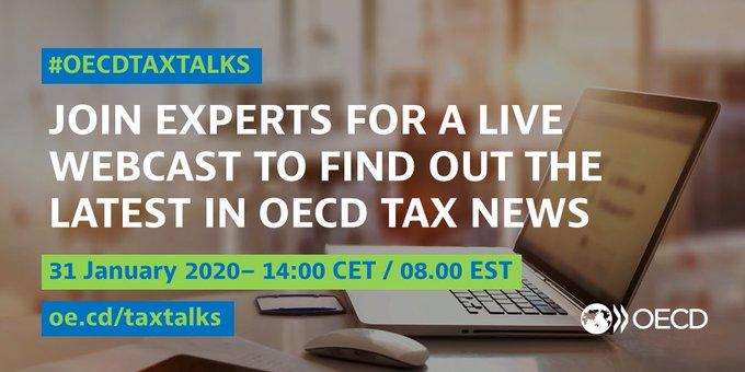 Freitag ist wieder Zeit für #OECDTaxTalks! (Englisch)  Die Experten des OECD Centre for Tax Policy bringen Sie auf den neuesten Stand zum Einsatz der OECD für #Steuergerechtigkeit und weltweit verbindliche Regeln.   31.1.2020 |14:00 Uhr http://oe.cd/taxtalks #Steuernpic.twitter.com/6gudqavsuS