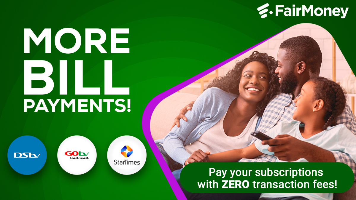 Never miss the fun moments! Make cable TV subscriptions on FairMoney with ZERO charges. #NoExcuses <br>http://pic.twitter.com/rnkh9CmJH4