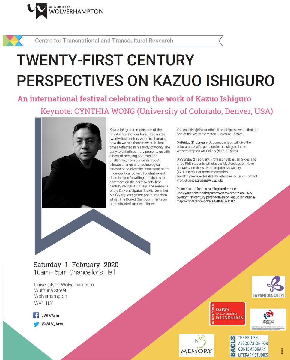 Wolves will be buzzin' this weekend: the Kazuo Ishiguro conference happens with over 60 Ish devotees descending on @wlv_uni. We're also doing 2 events for @WolvesLitFest. W/ @SaraUpstone @BobEaglestone @DrYuginTeo @OliviaOliveUK and @matthewmoor3 & more @WLV_English #IshCon2020 https://t.co/zJgGSQsedP