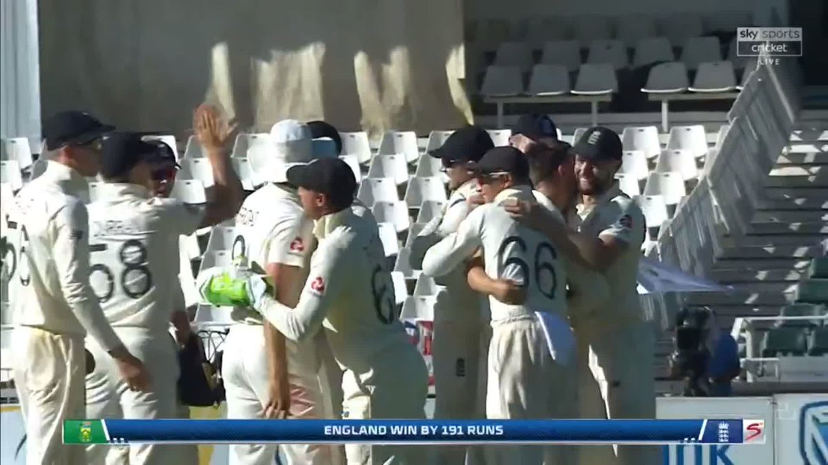 ENGLAND WIN BY 191 RUNS! Wood gets his fourth to settle it, Nortje caught down leg and England finish the series as 3-1 winners! 🏆 🇿🇦🏴 📺 Watch #SAvENG live: trib.al/Yw4xB03 📰 Over-by-over blog: trib.al/sdlf5PM