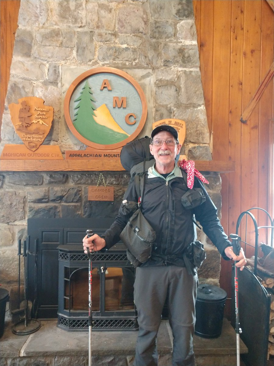 "Our first #AppalachianTrail thru-hiker visited AMC Mohican Outdoor Center last week! ""Grizzly Gramp"" was a real gentleman and enjoyed staying a night with us. He has about 886 miles yet to go to get to #Katahdin in Maine. 📷 Misty Mott"